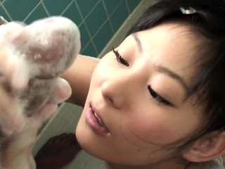 Uncensored tiny Japanese teen soapy handjob in shower